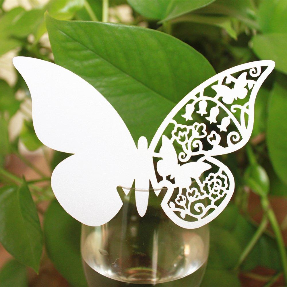 50pcs Tarjeta de Copa Lugar Forma Mariposa Decoración para Fiesta Boda Unbekannt