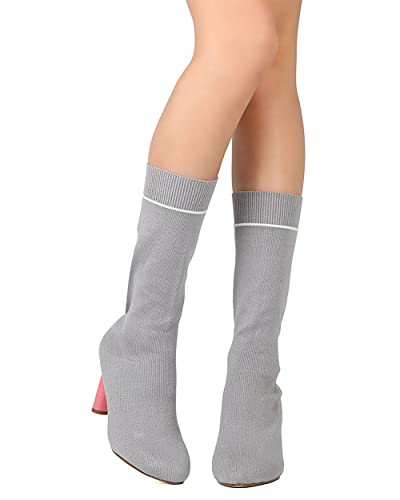 GB55 Women Sweater Mid-Calf Pointy Toe Oval Heel Sock Boot