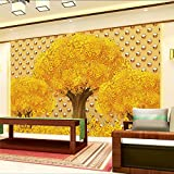 LHDLily 3D Wallpaper Mural Wall Sticker Thickening Custom Stereo Metal Frescoes Make Money Tree Tv Walls Photo 300cmX200cm