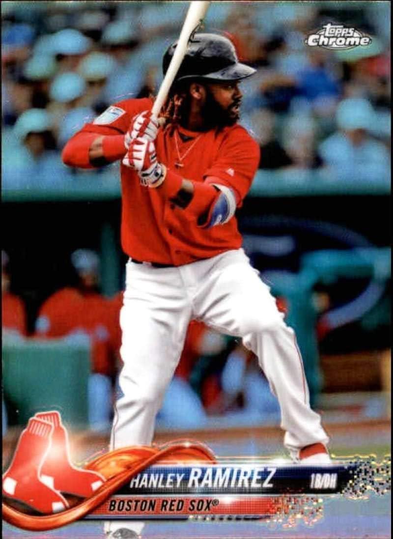 2018 Topps Chrome Refractor #59 Hanley Ramirez Red Sox Baseball Card