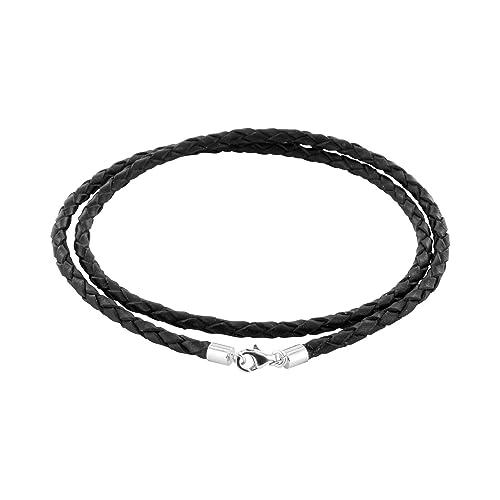 e6f1057167f5c1 AURORIS Geflochtene Echtleder-Kette schwarz Dicke 3mm mit  Karabinerverschluss aus 925 Sterling-Silber Länge