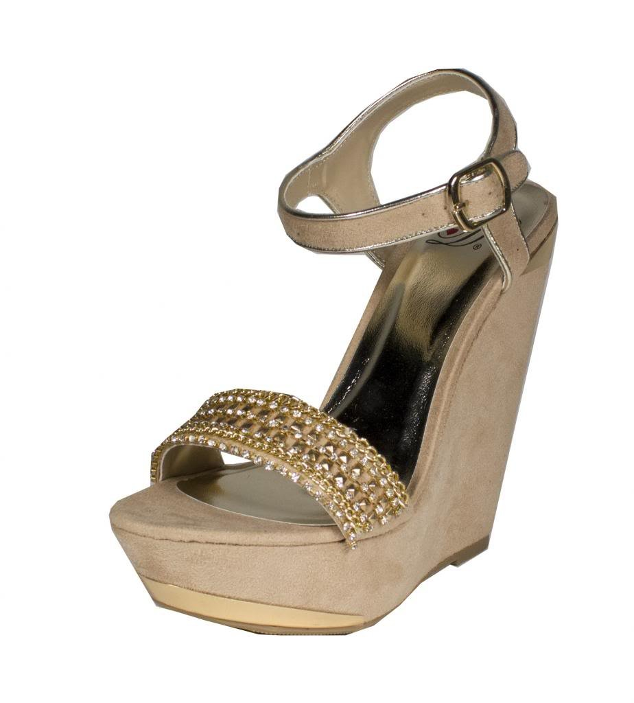 Delicious FIFI! Women's Gold Chain Diamond Embellished Ankle Strap Platform Wedge Sandals B016NGZRLQ 9 B(M) US|Oatmeal Faux Suede