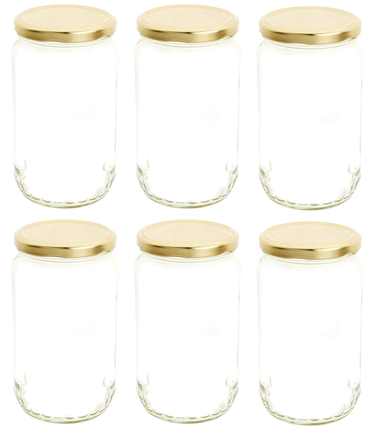 Favola 800 Gram (Gm) Multi Purpose Lead Free Round Glass Jar and Container with Rust Proof Air Tight Lid - (Pack of 6)