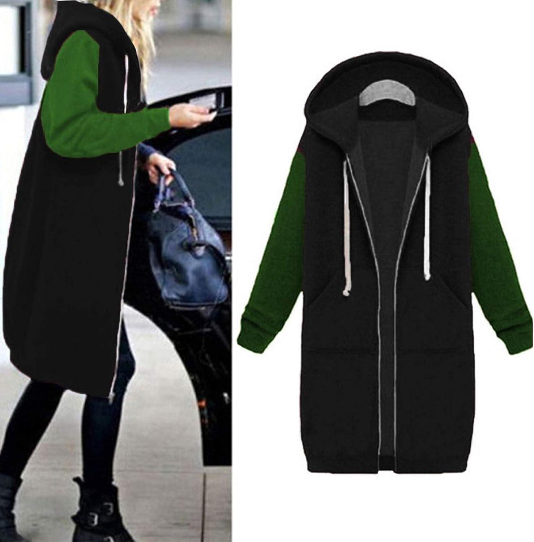 Boxinay Womens Casual Long Sleeve Solid Warm Zipper Open Hoodies Sweatshirt Long Coat Jacket Tops Outwear Sweater Blouses