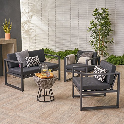 Seater 4 Garden (Navan Outdoor 4 Seater Aluminum Chat Set, Silver with Dark Grey Cushions)