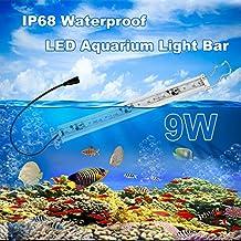 "Gealth 9W Waterproof LED Aquarium Light Bar White Blue Strip for Saltwater Freshwater (11.8""-23.6"")"