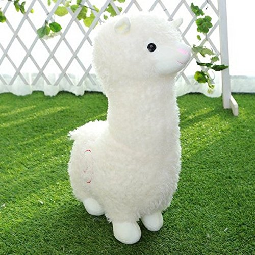 Stuffed Short Plush Shaped Mud horse prairie Neck Large Pillow Cushions Nap Doll Home Essential (10 inch, White)