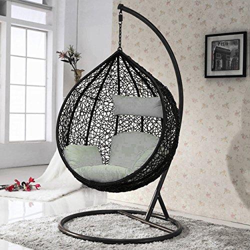 Indoor Outdoor Rattan Weave Garden Swing Chair Hanging Egg Chair Patio Furniture Black Buy Online In Cyprus At Desertcart