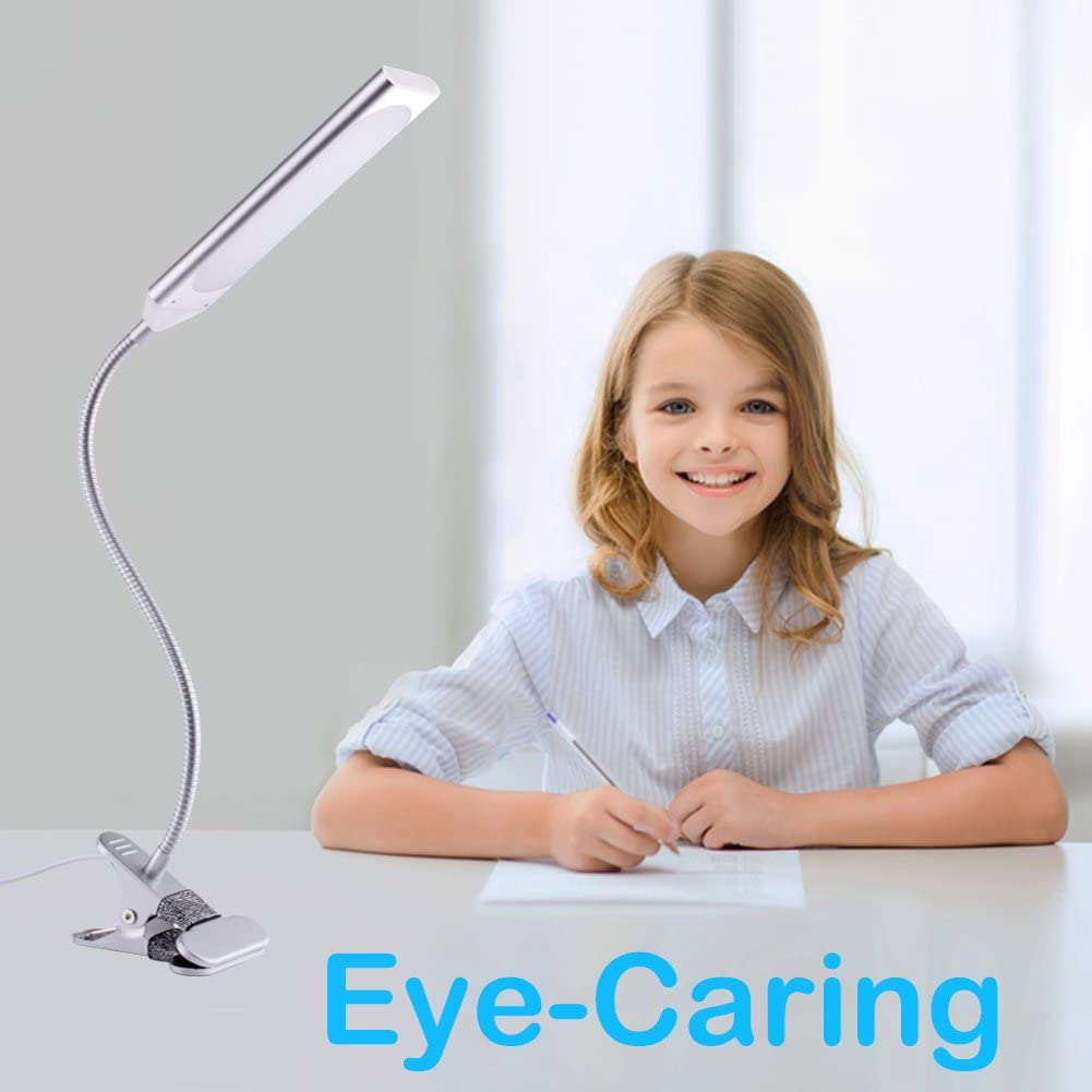 Clamp Desk Lamp, Led Clip on Reading Light, 5W Energy-Saving USB Desk Lamp, Dimmable, Adjustable Between 3 Modes 14 Brightness Levels, Clamp Lamp for Desk, Table, Headboard and Computer Silver
