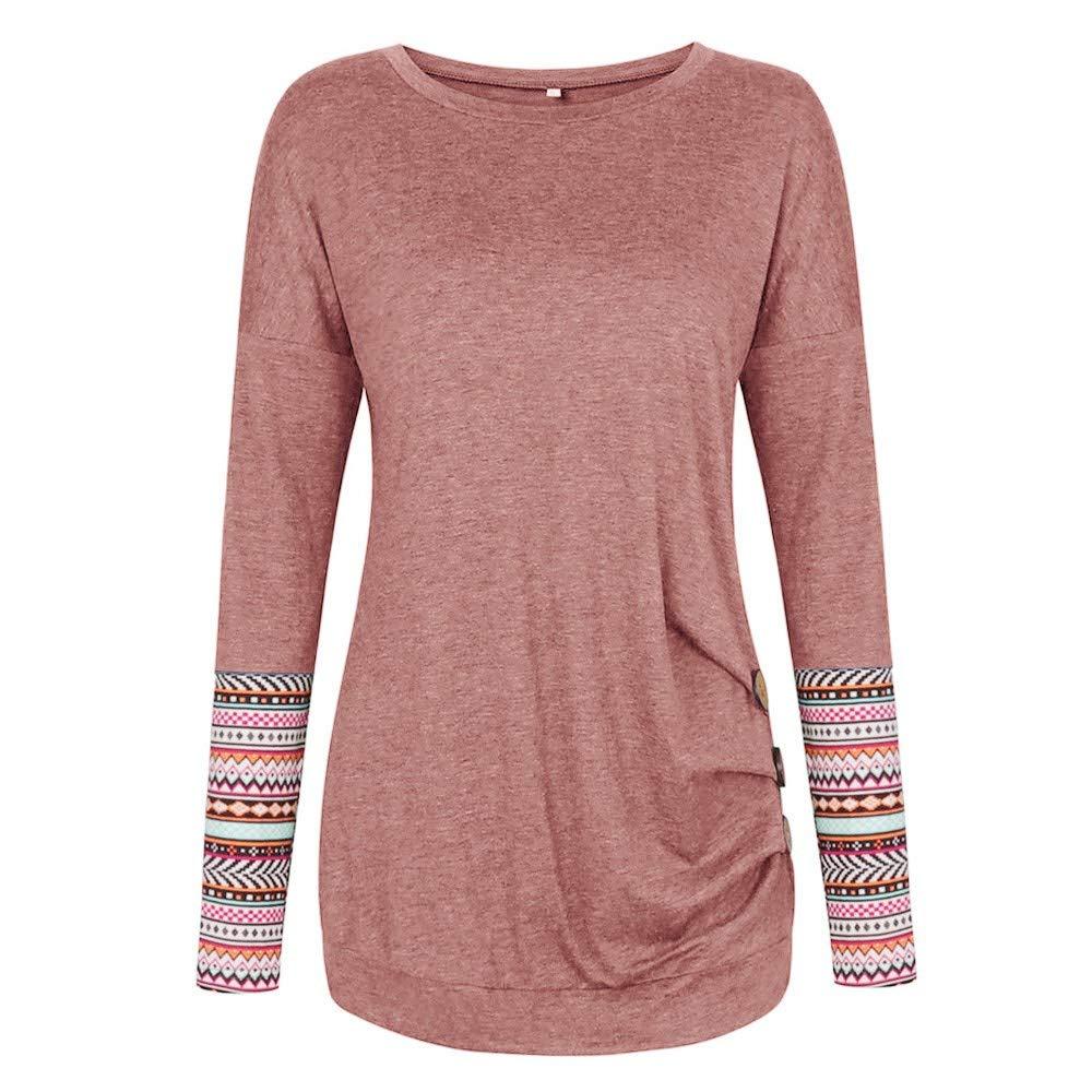 Pullover Sweatshirts for Women,Oasisocean Womens Casual Tunic Top Sweatshirt Long Sleeve Blouse T-Shirt Button D/écor
