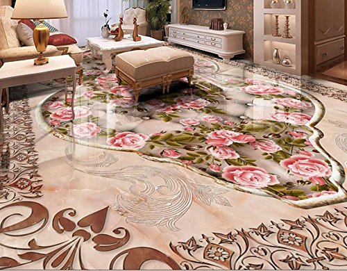 Marble Flooring Pattern - LWCX 3d flooring wall paper roll vinyl Custom luxury Pattern marble rose 3d floor murals self adhesive wallpaper water proof 430X280CM