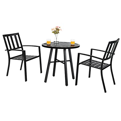outdoor metal table set patio chairs phi villa outdoor patio metal piece bistro furniture set with chair1 amazoncom