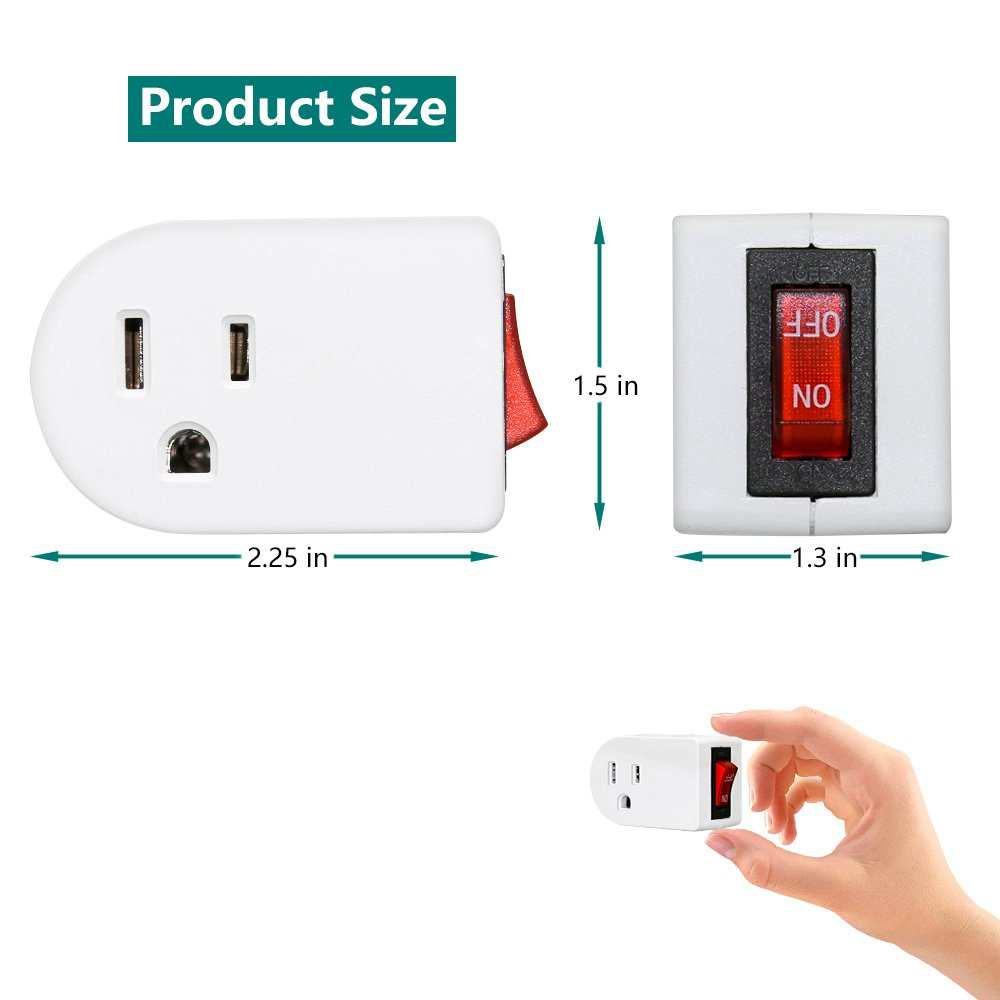 Grounded Outlet Adapter, ANKO ETL Listed Wall Tap Adapter with Red Indicator On/Off Power Switch (2 PACK) by ANKO (Image #5)