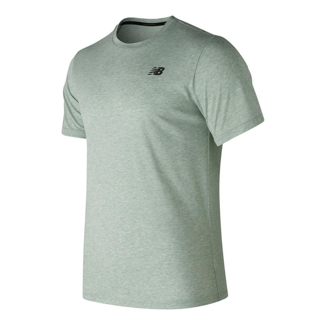 New Balance Men's Heather Tech Shorts Sleeve Shirt, Silver Mint, Small