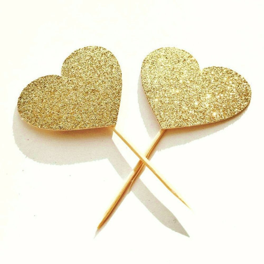 Amazon.com: MagiDeal 20 Pcs Gold Glitter Heart Cupcake Cake Toppers ...