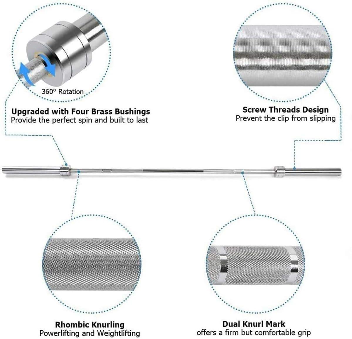 KDLK Barreau Olympique Barbell Bar Barre dentra/înement Barres dhalt/ère Standard 50 mm Surface Suspendue Steel de Carbone pour la comp/étition et la Musculation