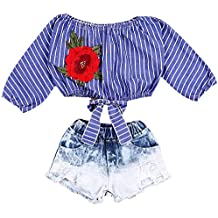 Fashion Kid Baby Girls Striped Crop Tops T Shirts Blouse Denim Short Jeans Pants Outfits