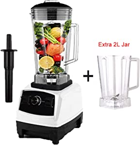 EU/US Plug G5200 3HP 2200W Commercial Blender Mixer Juicer Power Food Processor Smoothie Bar Fruit Electric Blender,white extra jar,UK Plug