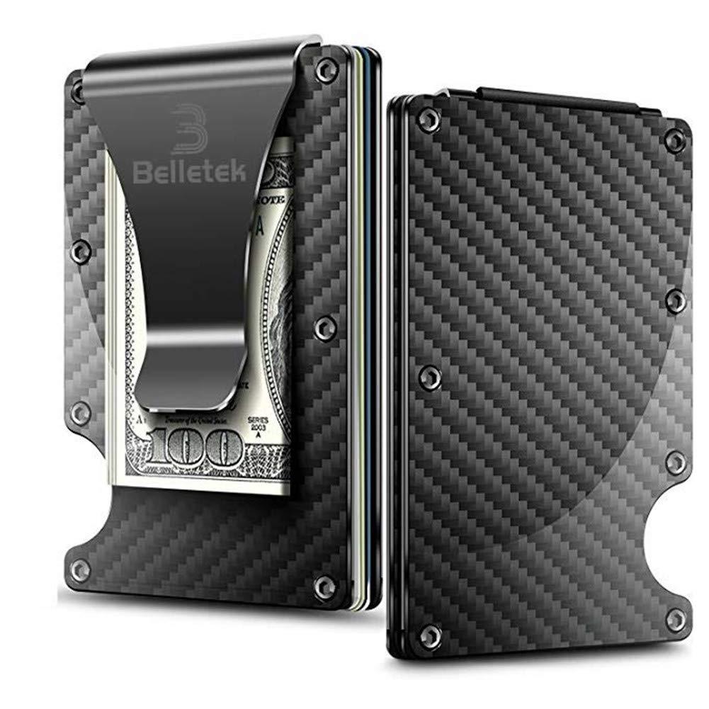 Belletek Carbon Fiber RFID Wallet/RFID Blocking Money Clip -Slim Wallet for Man