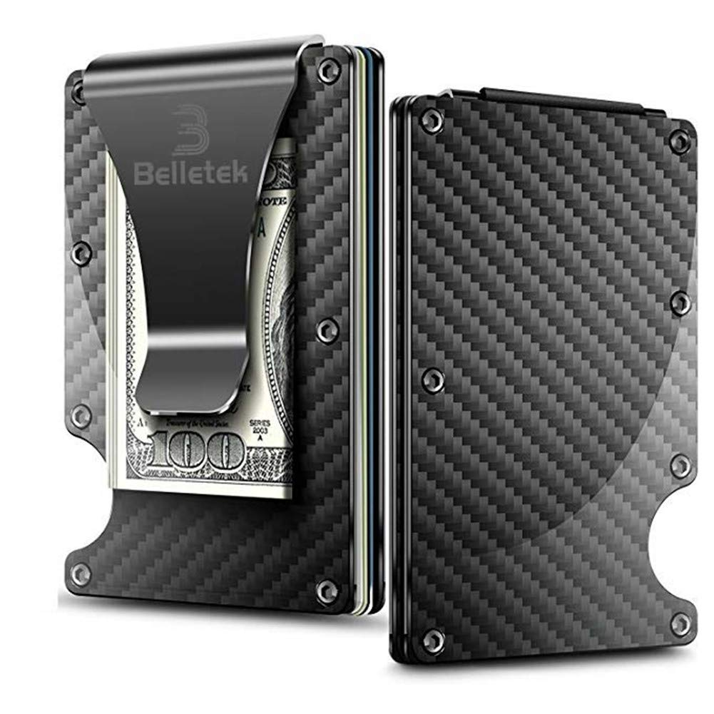 Belletek Carbon Fiber RFID Wallet/Minimalists Wallet and RFID Blocking Wallet-Aluminum Wallet with Money Clip -Slim Wallet for Man and Woman