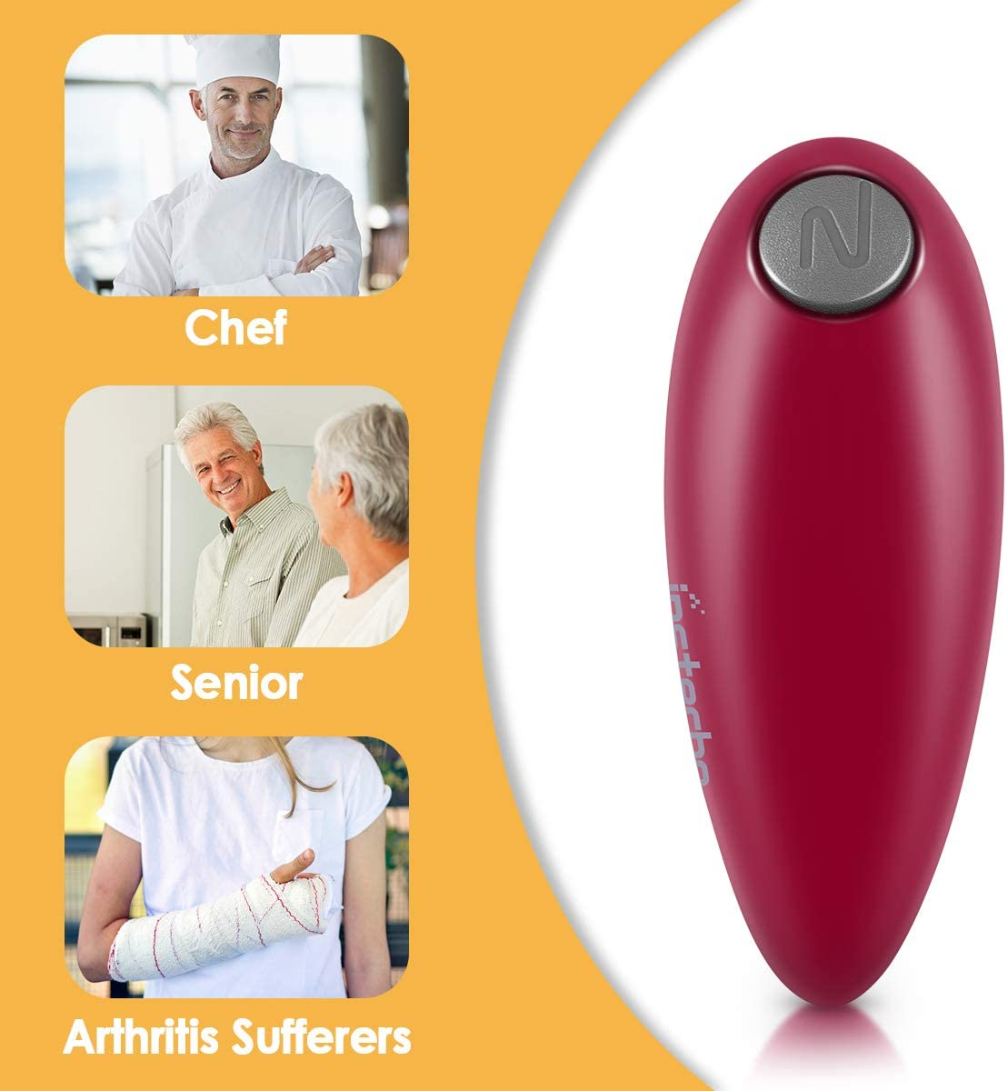 Heim-Gadget ergonomisches Design elektrisch f/ür manuelle Arbeit Dosen/öffner handfrei f/ür Senioren-Arthritis f/ür Restaurant-K/üche rot