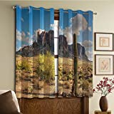 Custom design curtains/Vintage Lace Window Curtain/Grommet Top Blackout Curtains/Thermal Insulated Curtain For Bedroom And Kitchen-Set of 2 Panels(Cliff with Dramatic Cloudy Sky Southwest Terrain)