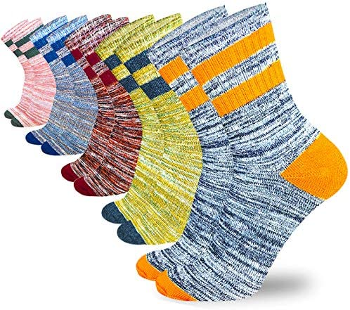 5 Pack Hiking Walking Socks Women,Outdoor Recreation Socks Moisture Wicking Crew Socks Cushion Athletic Socks