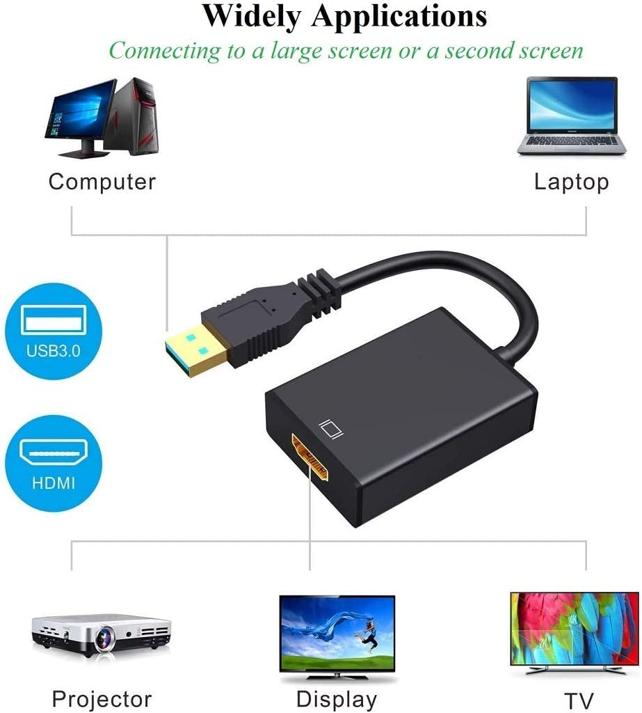 USB 3.0 to HDMI Adapter USB 3.0//2.0 to HDMI 1080P Full HD Video Audio Multi Monitor Converter Adaptor Compatible for PC Laptop Projector HDTV Compatible with Windows XP 7//8//8.1//10