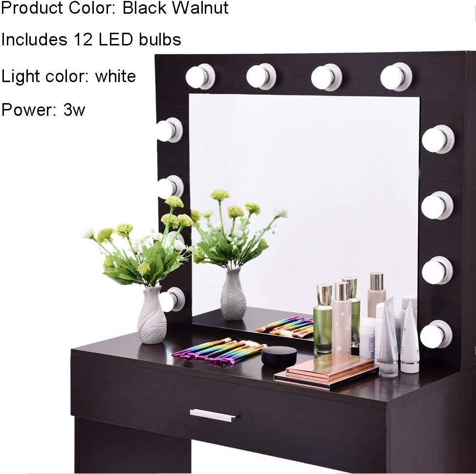 Makeup Vanity Dressing Table Dresser Writing Desk with Drawer for Bedroom Easy Assembly Annhoo Vanity Set with Lighted Mirror