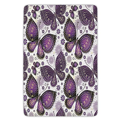 Rug Paisley Butterfly (Bathroom Bath Rug Kitchen Floor Mat Carpet,Natural,Ethnic Asian Butterflies with Paisley Motif on Wings Flowers Art Print Decorative,Plum Purple Lilac White,Flannel Microfiber Non-slip Soft Absorbent)