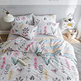 HIGHBUY Floral Printed Pattern Queen Duvet Cover Sets Cotton for Kids Adult Fresh Garden Design Reversible Striped Bedding Sets 3 Piece Full Bed Comforter Cover for Teens Girls