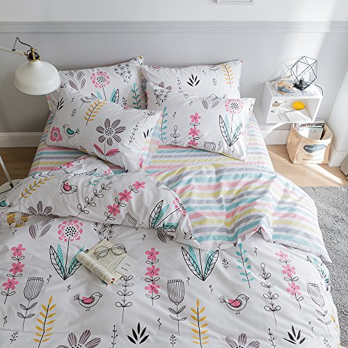 HIGHBUY Floral Printed Bedding Sets Queen Duvet Cover Girls Cotton Comforter Cover Full Size Fresh Garden Design Reversible Striped Bedding Sets 3 Piece Full Bed Comforter Cover Duvet Cover Set ()