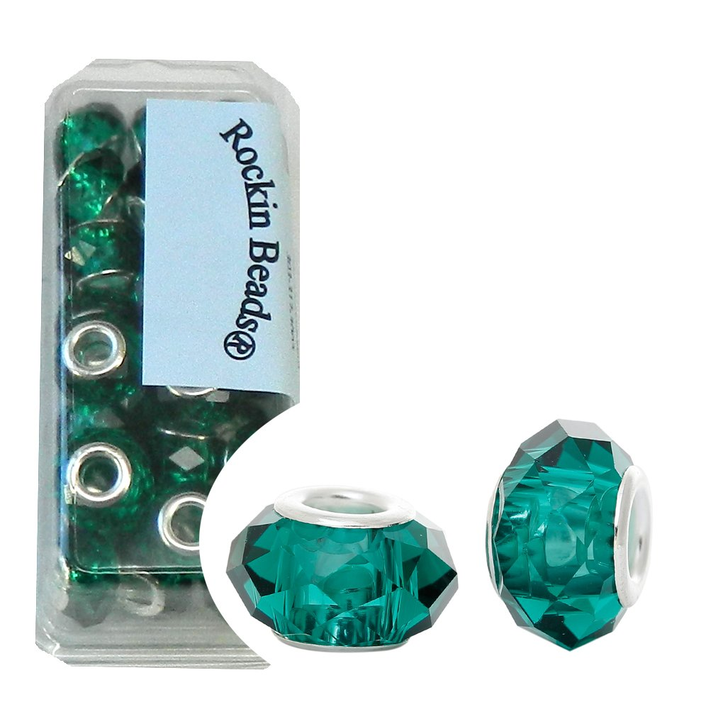 Rockin Beads Brand 24 Teal Green Beads Faceted Glass Large 4.5-5mm Hole