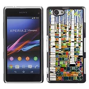 Be Good Phone Accessory // Dura Cáscara cubierta Protectora Caso Carcasa Funda de Protección para Sony Xperia Z1 Compact D5503 // Forest Painting Abstract Birch