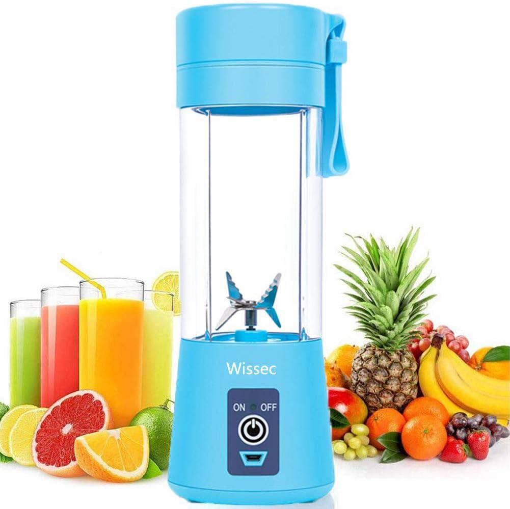 Licuadora personal, batidora portátil, para fruta, recargable, con USB, minibatidora para batidos, zumos de fruta, 380 ml, seis cuchillas 3D para una mezcla excelente (verde) azul