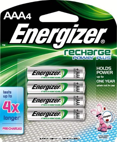 Energizer Rechargeable AAA Batteries, NiMH, 800 mAh, Pre-Charged, 4 count (Recharge Power Plus) - EVENH12BP4 ()