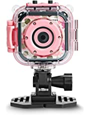 [Upgraded]DROGRACE Kids Camera Waterproof Action Video Digital Camera 1080P HD for Girls Toys Gifts Build-in Game(Pink)