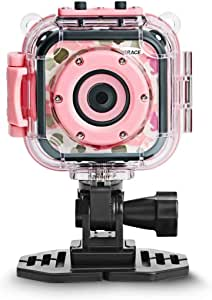 [Upgraded] DROGRACE Kids Camera Waterproof Action Video Digital Camera 1080P HD for Girls Toys Gifts Build-in Game(Pink)