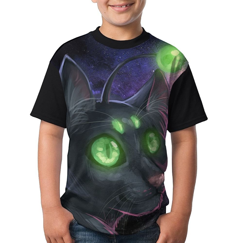 Cat Evil Kids Breathable Shirts 3D Printed Tee Crew Top X-Large