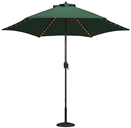 Tropishade Tropilight with LED Lighted 9 ft Bronze Aluminum Market Umbrella  with Green Polyester Cover - Amazon.com : Tropishade Tropilight With LED Lighted 9 Ft Bronze