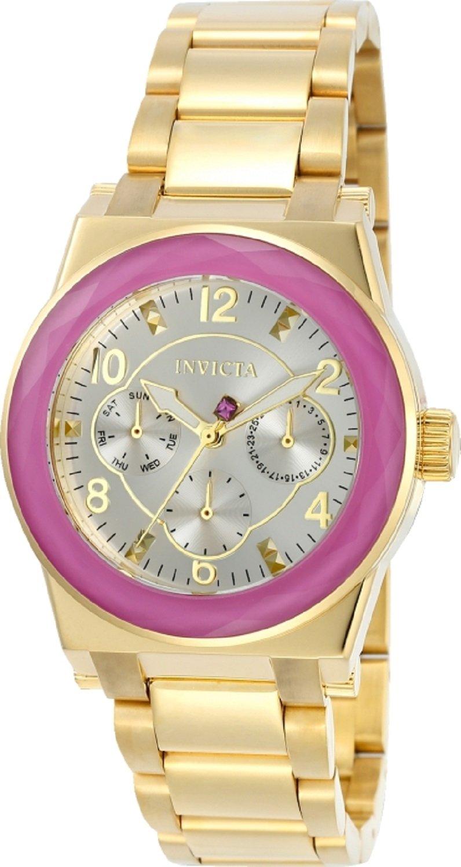 Invicta 22658 Womens Angel Quartz Purple Glass Bezel Goldtone Stainless Steel Bracelet Watch