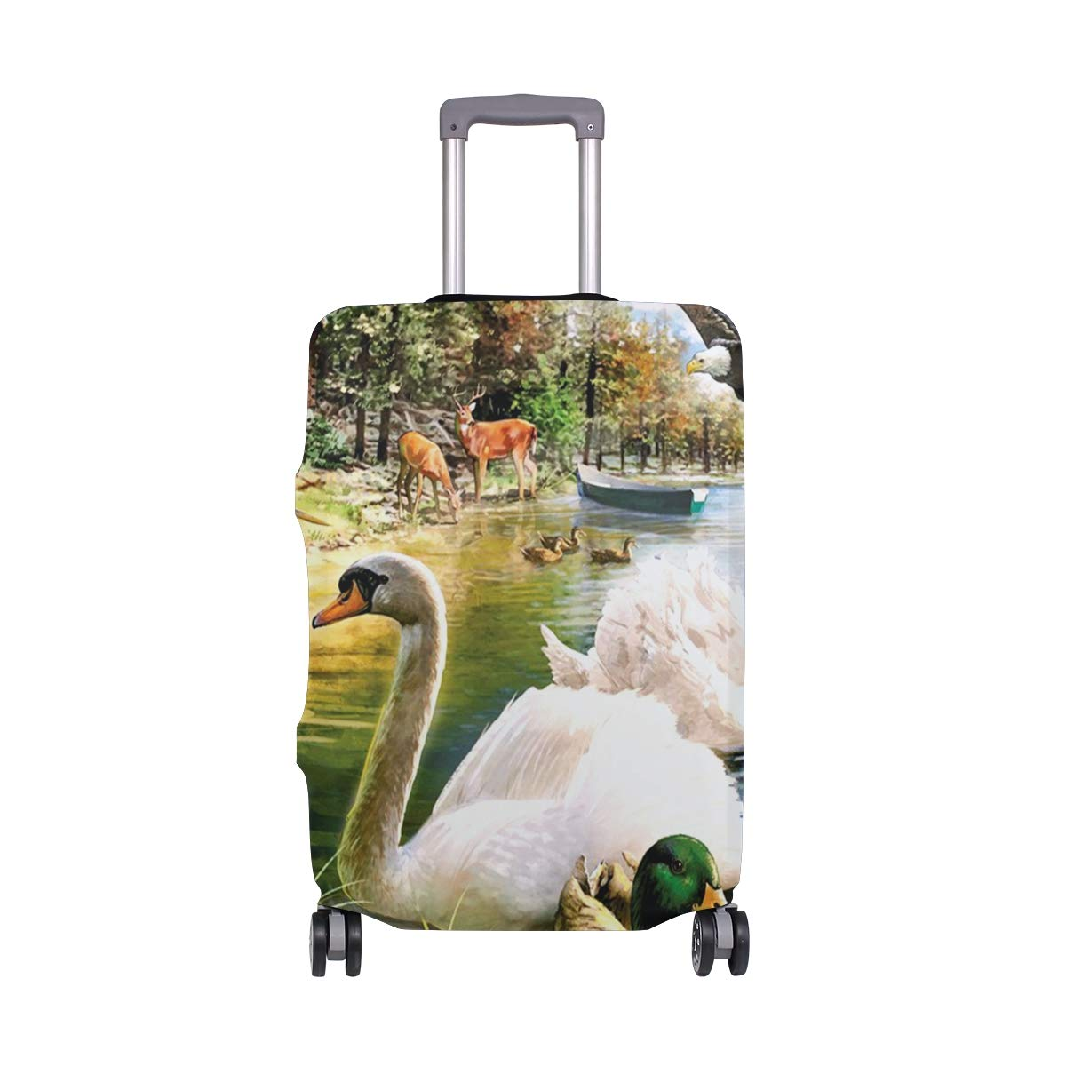 Elastic Travel Luggage Cover Watercolor Deer Suitcase Protector for 18-20 Inch Luggage