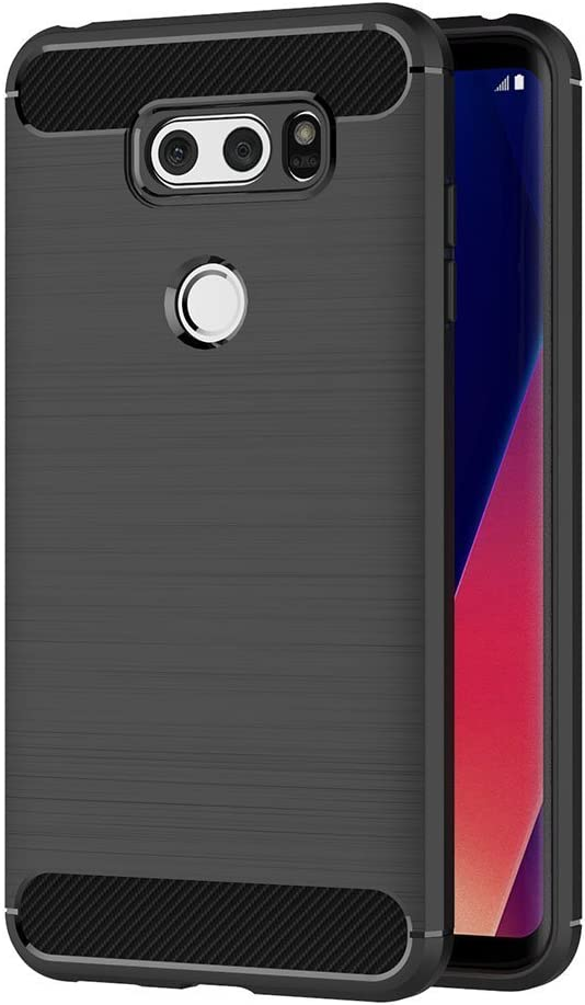 6 inch Soft Silicon Luxury Brushed with Texture Carbon Fiber Design Protection Cover MaiJin Case for LG V30 // V30 Plus Black