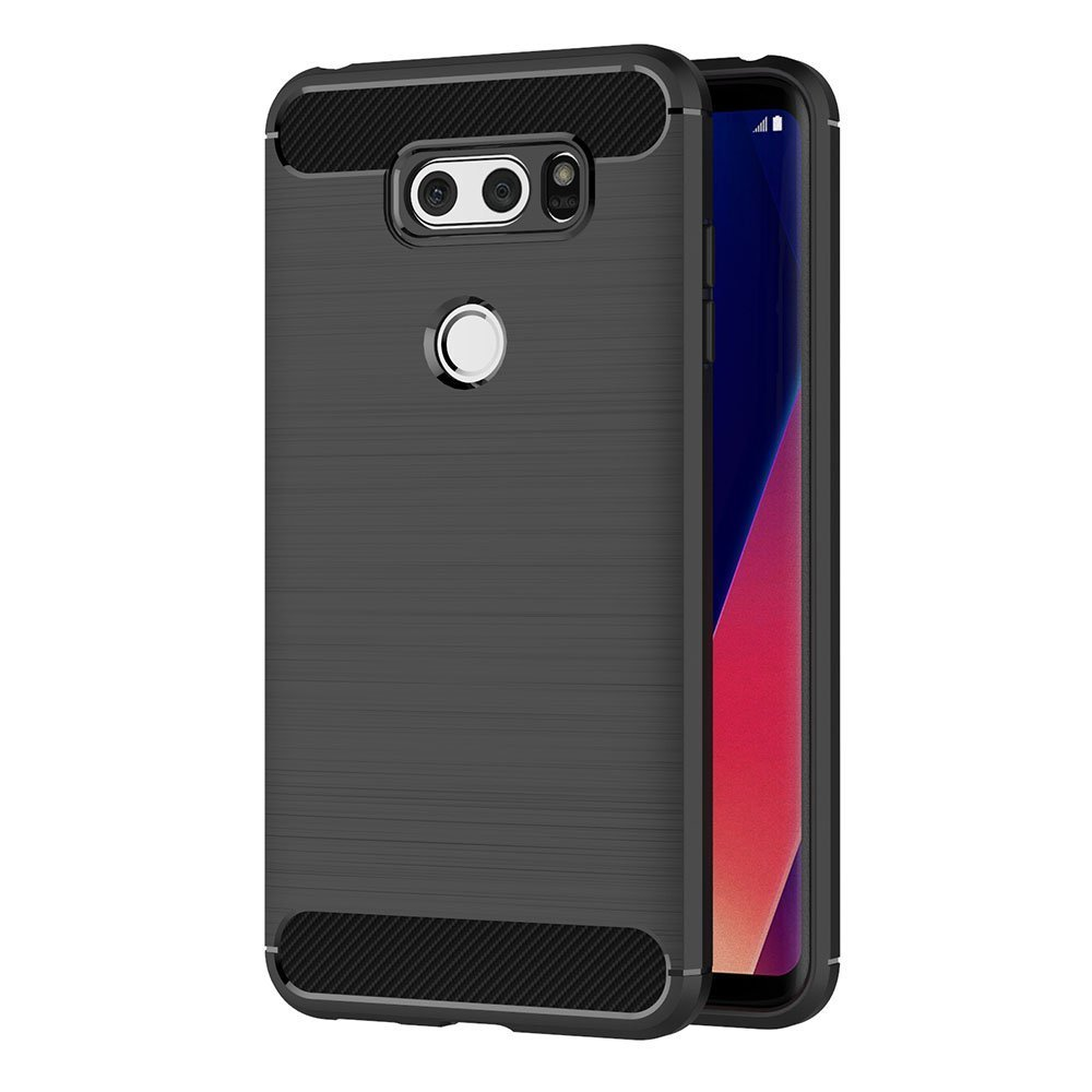 Black Soft Silicon Luxury Brushed with Texture Carbon Fiber Design Protection Cover 6 inch MaiJin Case for LG V30 // V30 Plus