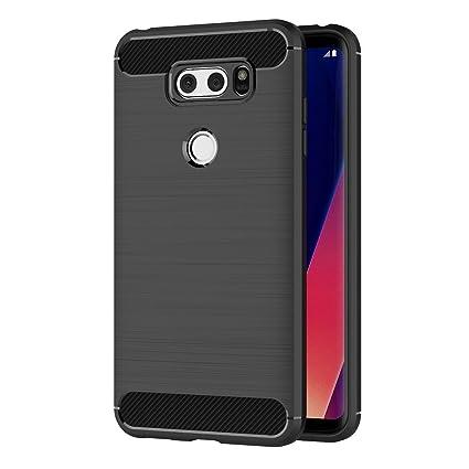 MaiJin Funda para LG V30 / V30 Plus (6 Pulgadas) TPU Silicona Carcasa Fundas Protectora con Shock Absorción y Diseño de Fibra de Carbon (Negro)