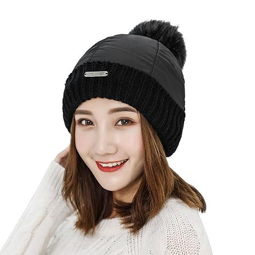 Women Winter Warm Hat Waterproof Beanie Hat Cap Fleece Liner Detachable Pom  Pom (Black) 56f88d06fe