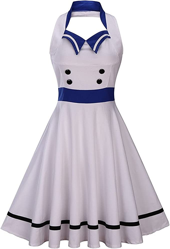 1940s Dress Styles Wellwits Womens Vintage Pin Up Sailor Collar Halter Swing Dress $24.98 AT vintagedancer.com