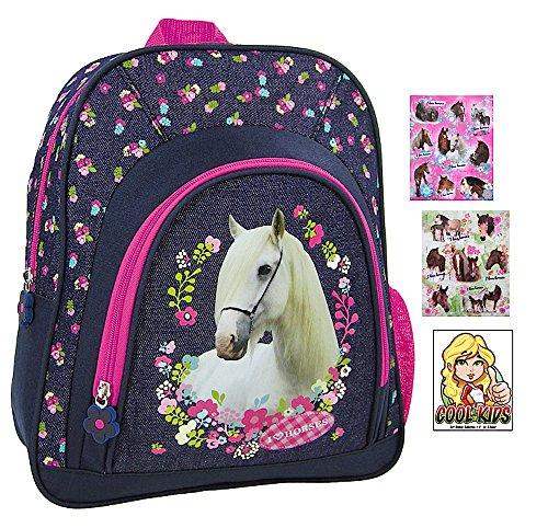 Pferde Kindergarten-Rucksack / Kindergartentasche - 32 x 30 x 11 cm - Motiv: I love Horses - für die Brotdose / Trinkflasche + 16 Pferde Sticker