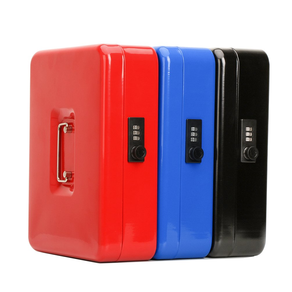 Safe Metal Cash Box with Money Tray & Combination Lock, Decaller Large Lock Storage Money Box with 5 Compartments Cash Tray, Red, 11 4/5'' x 9 2/5'' x 3 1/2'', QH3003L by Decaller (Image #10)
