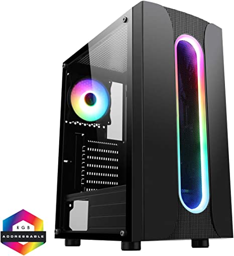 CiT Sauron ARGB PC Gaming Case ATX, 1 Ventilador ARGB de 120 mm Incluido, Tira de